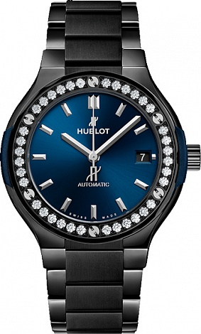 Hublot Classic Fusion Ceramic Blue Bracelet Diamonds 568.CM.7170.CM.1204
